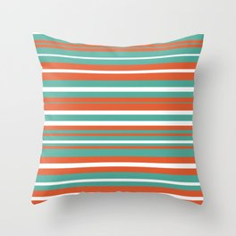 Summer Stripes Color Block Pattern in Teal, White, and Orange Throw Pillow