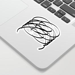 Family - Minimalism Drawing Black White Sticker