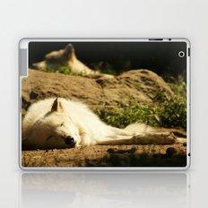 Sleeping white wolf in the summer sun Laptop & iPad Skin