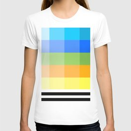 Popsicle Black and White Stripes and Squares Colorful Design T-shirt