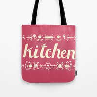kitchen Tote Bags featuring Kitchen by Leah Doguet