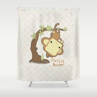 bread Shower Curtains featuring Monkey Bread by The Little Prints