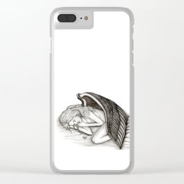 A sleeping Angel , Black and white Design Clear iPhone Case