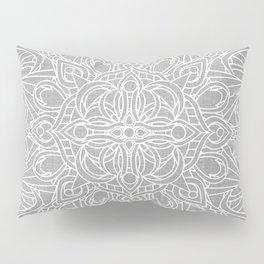 White Mandala on Grey Linen Pillow Sham