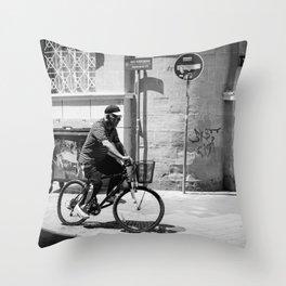 Old man riding his bike in Old Nicosia, Cyprus Throw Pillow