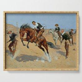 "Frederick Remington Western Art ""Turn Him Loose"" Serving Tray"