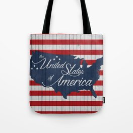 Stars and Stripes - US map on reclaimed wood Tote Bag