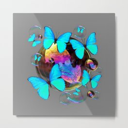ABSTRACT NEON BLUE BUTTERFLIES & SOAP BUBBLES GREY COLOR Metal Print