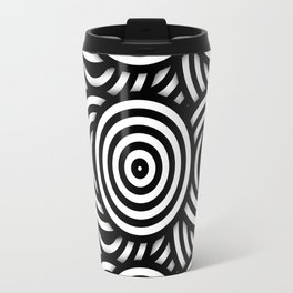 Retro Black White Circles Op Art Travel Mug