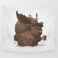 grumpy Wall Tapestries featuring Grumpy coffee owl by Pesto design