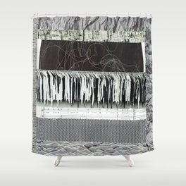 Collage - Black on White Shower Curtain