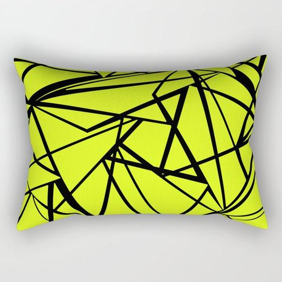 An abstract geometric pattern . Yellow green pattern . Rectangular Pillow