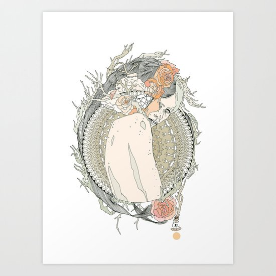 blackened doily Art Print