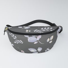 Spring watercolor leaves & tulips on dark grey background Fanny Pack