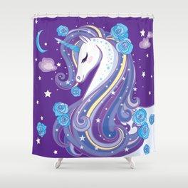 Magical Unicorn in Purple Sky Shower Curtain