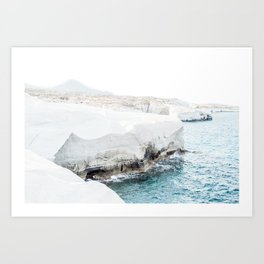 Milos sea cliffs Art Print