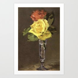 Edouard Manet - Roses in a Champagne Glass Art Print