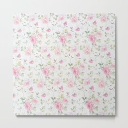 Elegant blush pink white vintage rose floral Metal Print