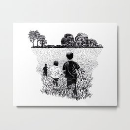 Kids Playing in Field Metal Print