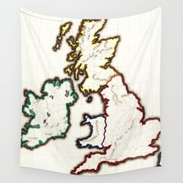 Vintage Map of The British Isles (1860) Wall Tapestry