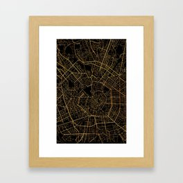 Black and gold Milan map, Italy Framed Art Print