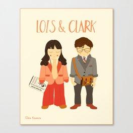 Lois & Clark - Superman The Daily Planet Years - Comic Superhero Illustration Print Canvas Print