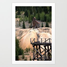 1880's Gold Rush - Mine Headshaft on Red Mountain from the Idarado Ore Cart Track Art Print
