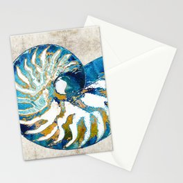 Beachy Art - Nautilus Shell Bleu - Sharon Cummings Stationery Cards