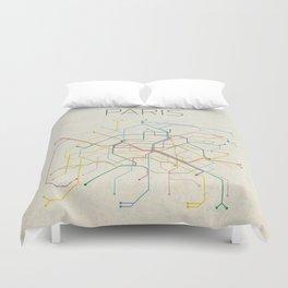 Minimal Paris Subway Map Duvet Cover