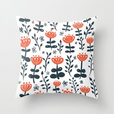 Red Blooms Throw Pillow