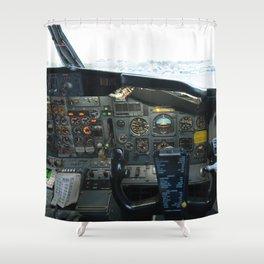 737 Airliner Cockpit Shower Curtain