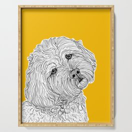Cockapoo Dog Portrait ( yellow background ) Serving Tray