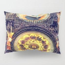 Prague Clock Orloj watercolor Pillow Sham