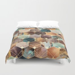 Natural Hexagons And Diamonds Duvet Cover