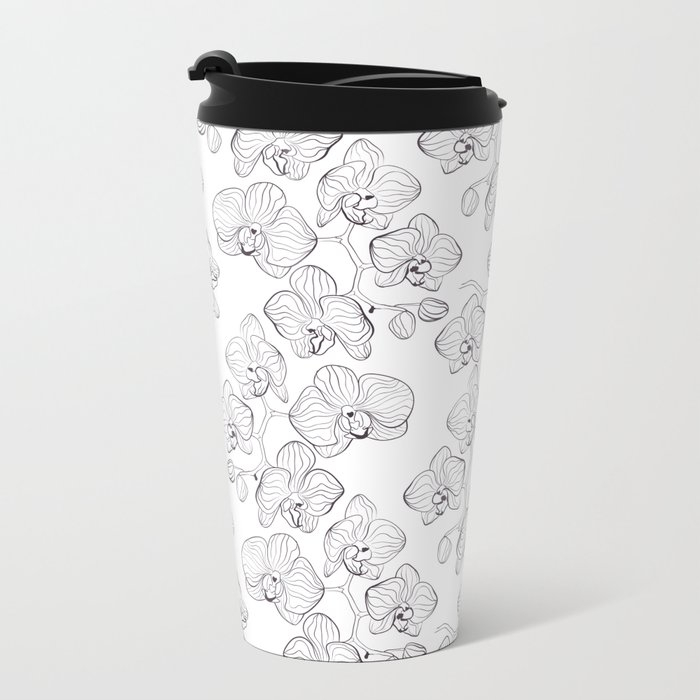 The White Orchid. Black and white pattern . Metal Travel Mug