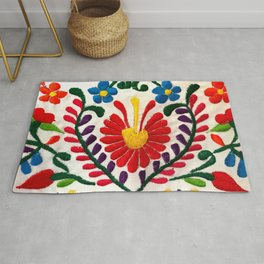 Red Mexican Flower Rug