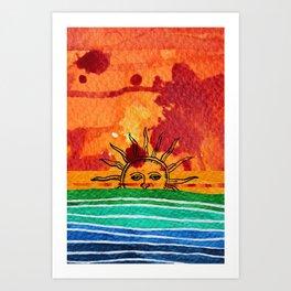 Sunset in planet Bizarro Art Print