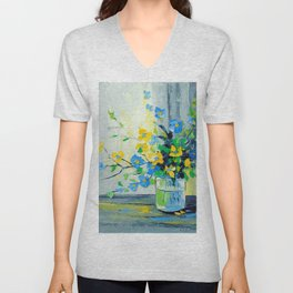 Bouquet of yellow and blue flowers Unisex V-Neck