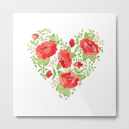 Rose Heart watercolor Metal Print