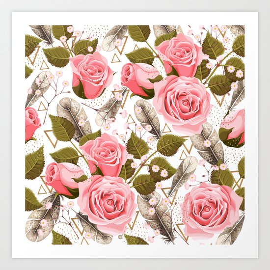 flowers with feathers Art Print