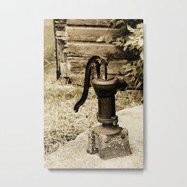 Antique Water Pump on a Concrete Cistern Metal Print