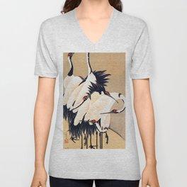 Ito Jakuchu - cranes - Digital Remastered Edition Unisex V-Neck