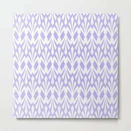 Decorative Plumes - White on Lilac Metal Print