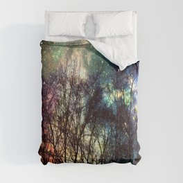 Black Trees Deeply Colorful Space Comforters