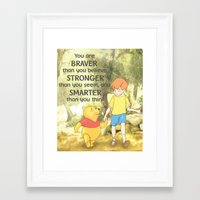 winnie the pooh Framed Art Prints featuring WINNIE THE POOH by DisPrints
