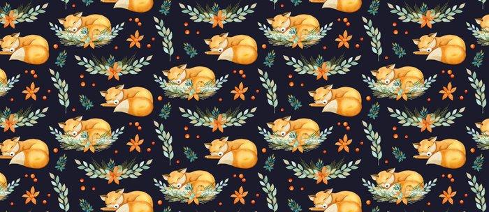 Animal Pattern Sleeping Fox Watercolor Navy Orange Coffee Mug