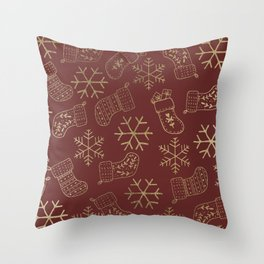 Burgundy red and faux gold foil Christmas snowflakes stockings Throw Pillow