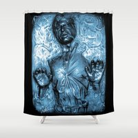 han solo Shower Curtains featuring HAN SOLO IN CARBONITE by ROY  AIUTO