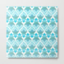Ice Blue Geometric Forest Metal Print