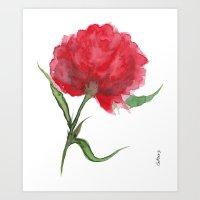 peony Art Prints featuring Peony by Gosia&Helena